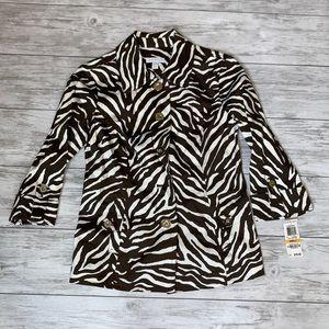 Charter Club Brown Animal Print Jacket Small NWT